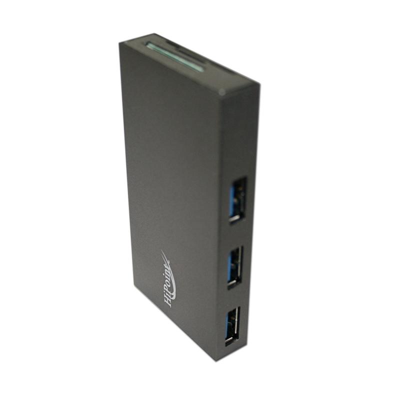 ALUMINUM 4 PORT USB 3.0 HUB & CARD READER 5GBPS HIGH SUPER SPEED FOR PC MAC
